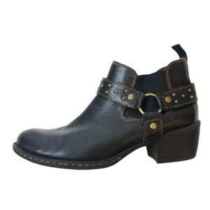 BOC Black Leather Harness Booties